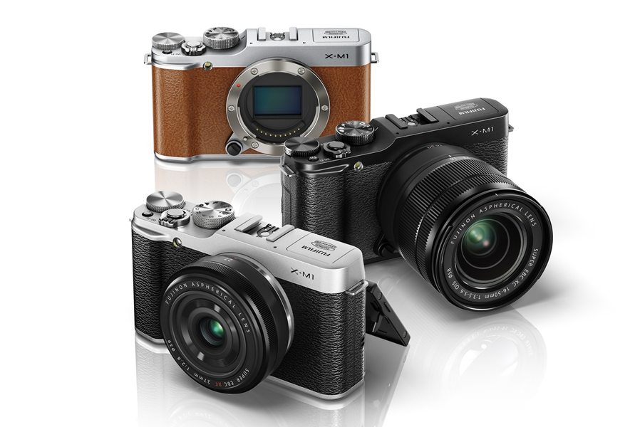 Fujifilm X-M1 in Brown, Black and Silver with 27mm f/2.8 and 16-50mm f/3.5-5.6mm lenses.