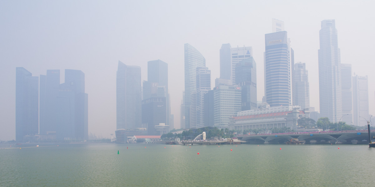 Singapore skyline shrouded in haze