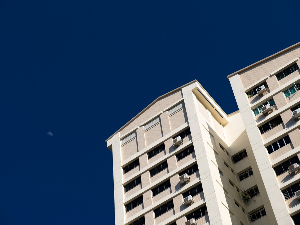 HDB Flats, Singapore, with Moon in background