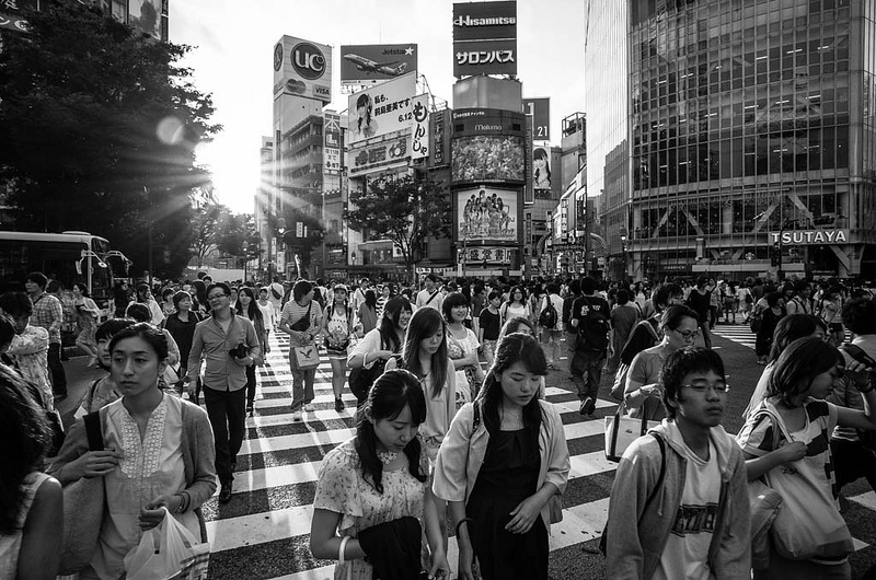 Shibuya Crossing with the GR and the GW3 21mm conversion lens (Photo by David)