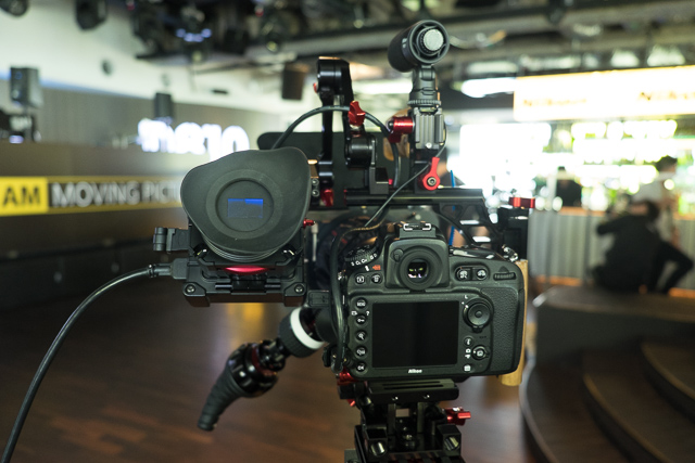 Nikon D810 fully tricked out with an external EVF, follow focus, external mic, matt box and more.
