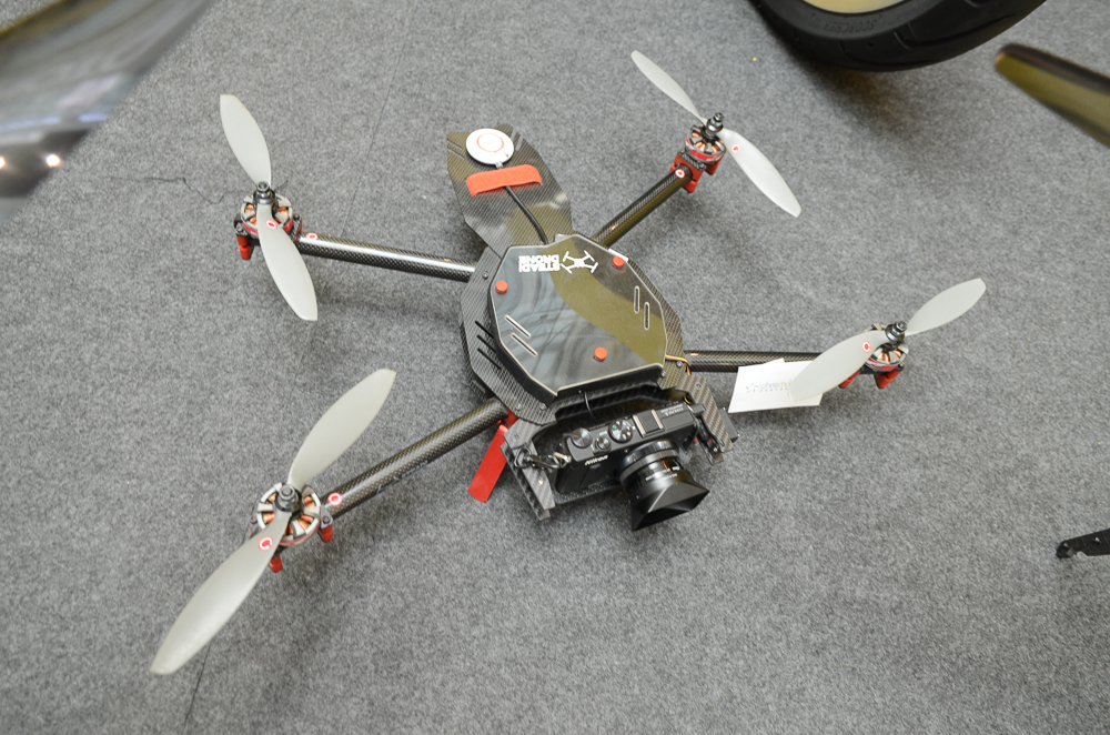 A custom-made drone outfitted with a Nikon Coolpix A.