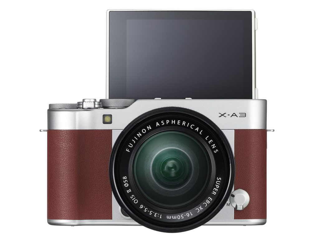 Fujifilm X-A2 with LCD flipped up.
